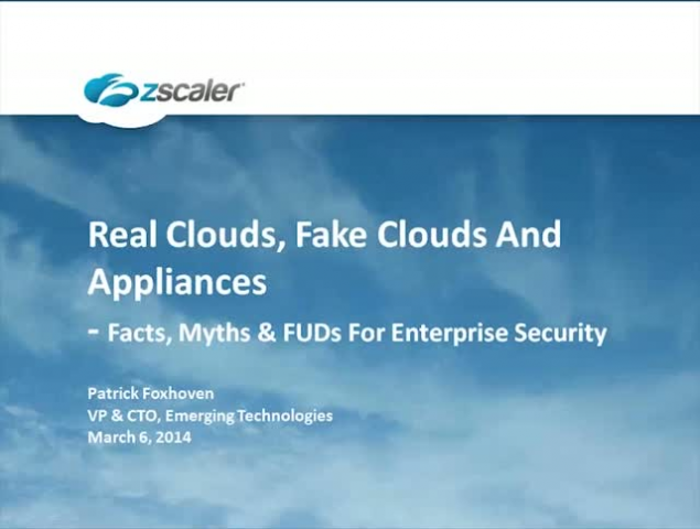 Real Clouds, Fake Clouds And Appliances