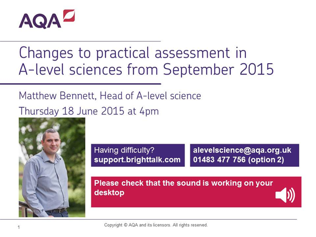 Changes to practical assessment in AQA A-level sciences from September 2015