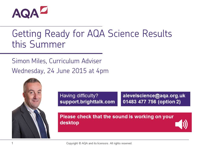 Getting ready for AQA science results this summer
