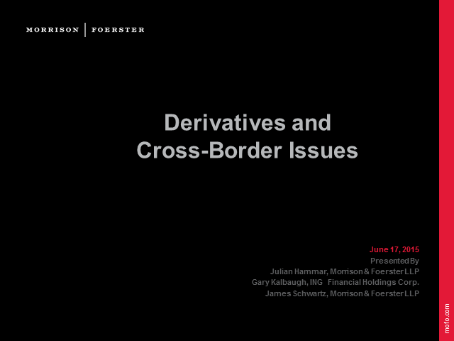 Derivatives and cross border issues