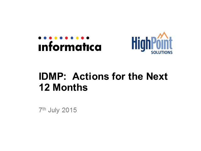 Panel on the Final 12 Months for IDMP (Identification of Medicinal Products)