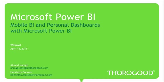 Microsoft Power BI: Mobile Business Intelligence and Personal Dashboards