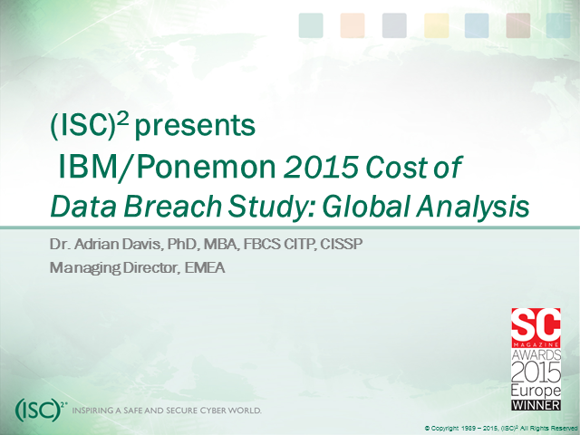 Ponemon Study: True Cost of a Data Breach
