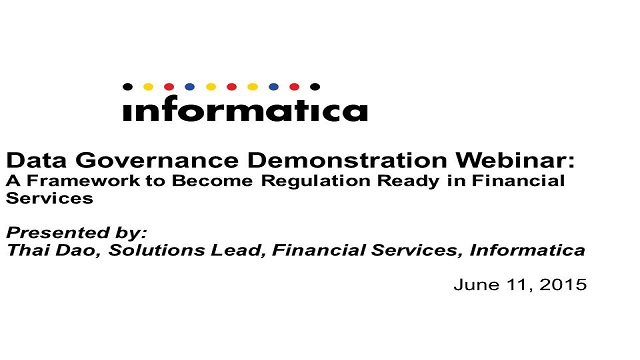 Data Governance Demo: A Framework to Become Regulation Ready in Fin Serv
