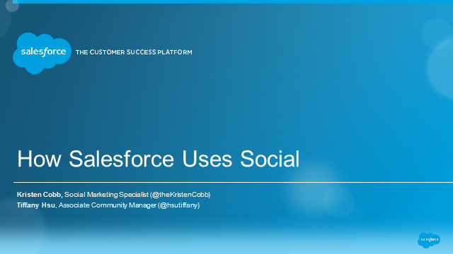 How Salesforce Uses Social: Community Management