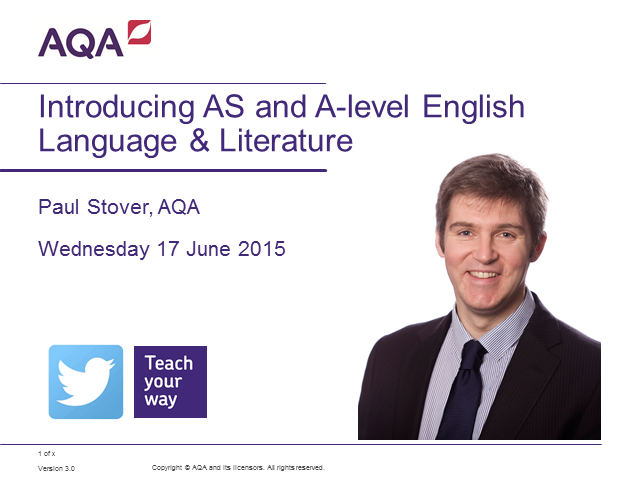 Introducing AS and A-level English Language and Literature