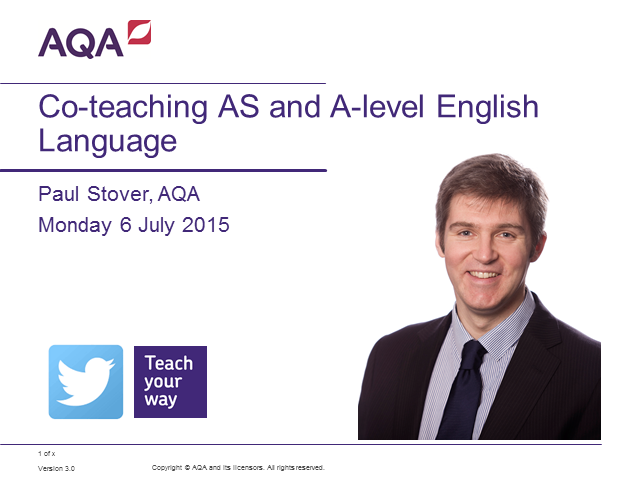 Co-teaching AS and A-level English Language