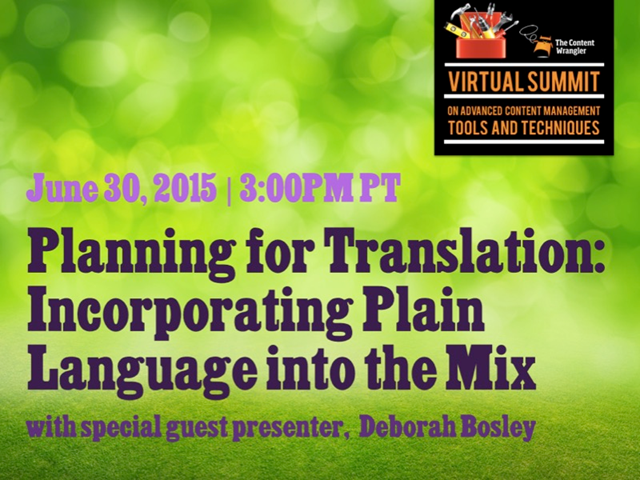 Planning for Translation: Incorporating Plain Language into the Mix