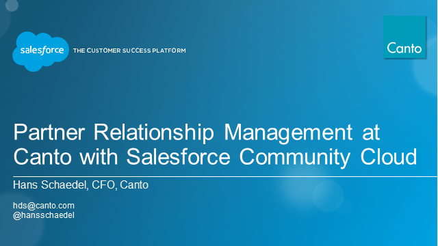 Partner Relationship Management at Canto with Salesforce Community Cloud