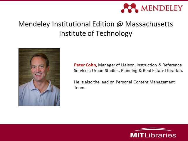 Mendeley Institutional Edition @ Massachusetts Institute of Technology