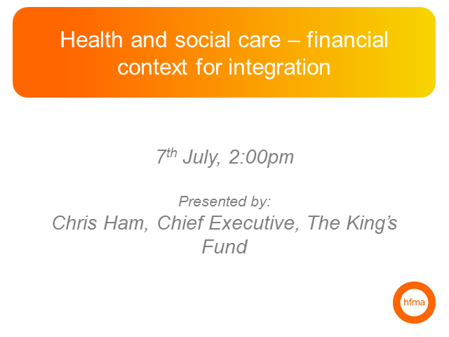 Health and social care – financial context for integration