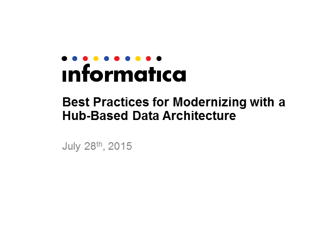 Best Practices for Modernizing with a Hub-based Data Architecture