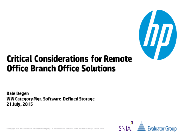 Critical Considerations for Remote Office Branch Office Solutions