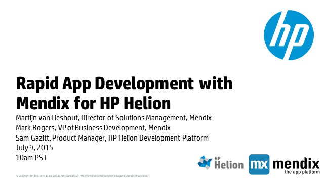 Rapid App Development with Mendix for HP Helion