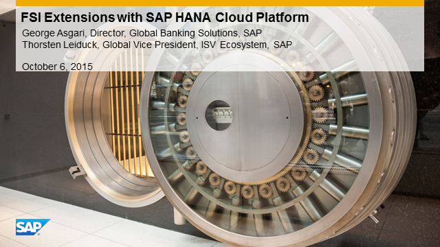 Financial Services Extensions with SAP HANA Cloud Platform