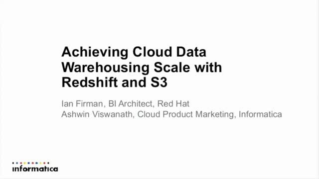 Achieving Cloud Data Warehousing Scale with Redshift and S3