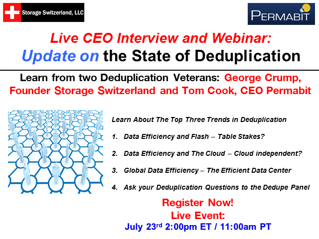 Live CEO Interview and Webinar Update on the State of Deduplication
