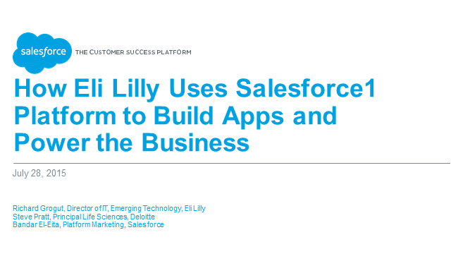 "How Eli Lilly Uses Salesforce1 Platform to Build Apps and ""Power the Business"""