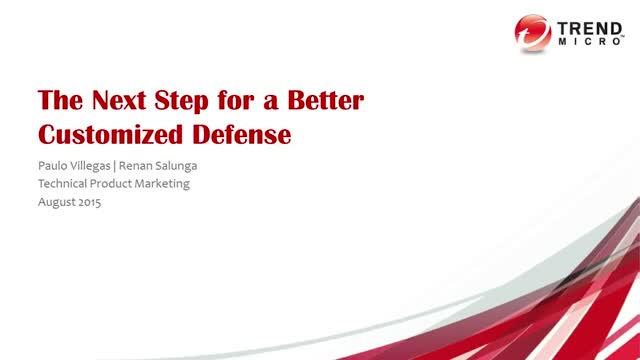 The next step for a better customized defense