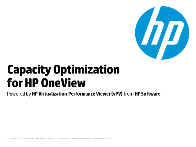 Capacity Optimization and Performance Management meet HP OneView
