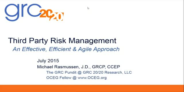 Third Party Risk Management: an effective, efficient, and agile approach