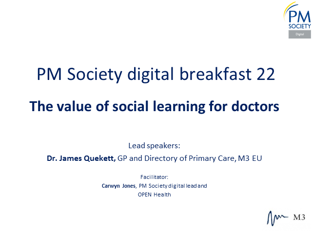 Digital Breakfast 22 - The value of social learning for doctors