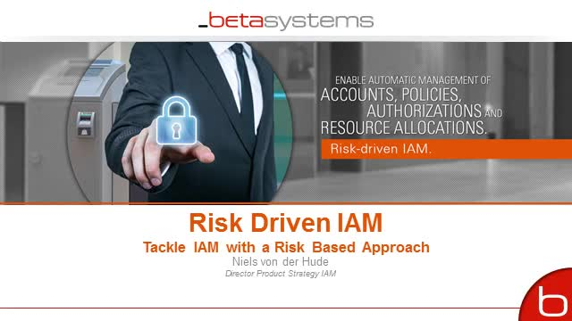 Risk Driven IAM: Tackle IAM with a Risk Based Approach