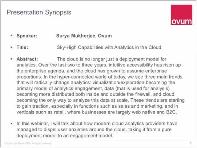 Sky-High Capabilities with Analytics in the Cloud