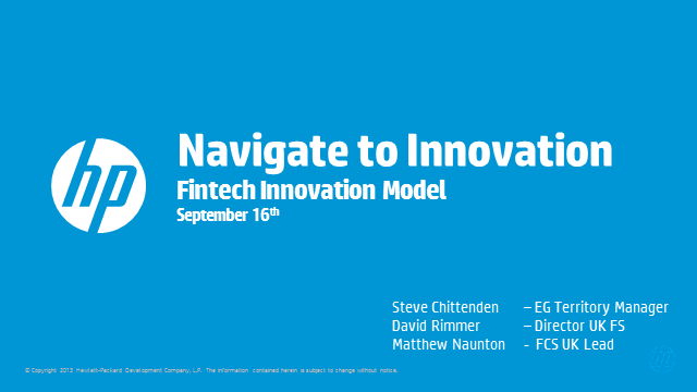 Navigate to Innovate – The Hewlett Packard Enterprise Fintech Innovation Model