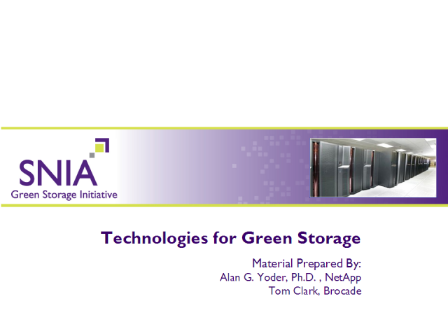 Technologies for Green Storage
