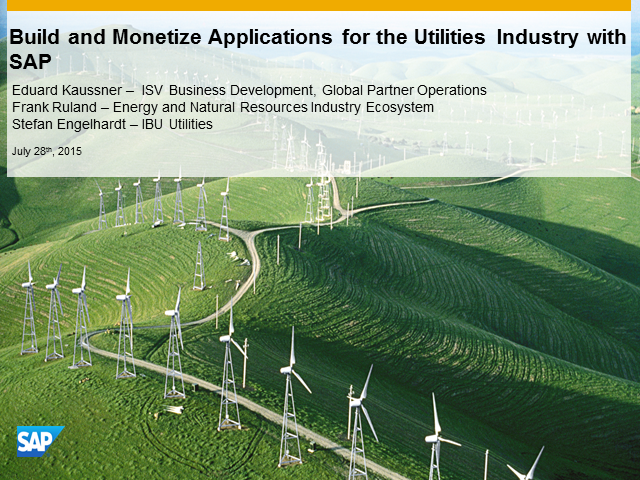 Build and Monetize Innovative Applications for Utilities Industry with SAP HCP