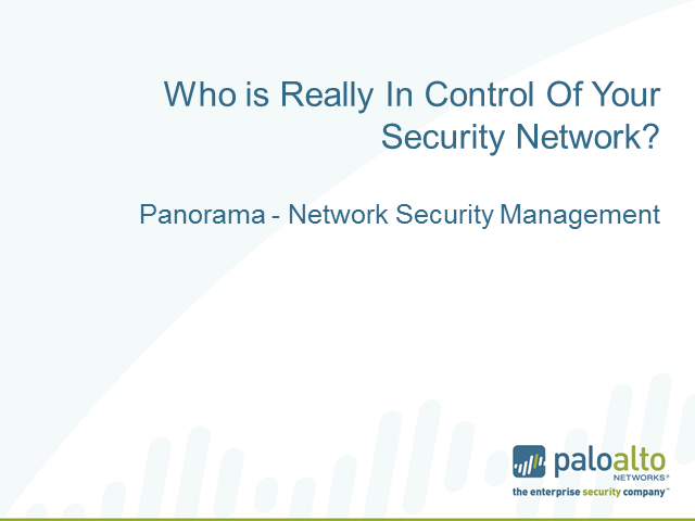 Who is really in control of your security network?