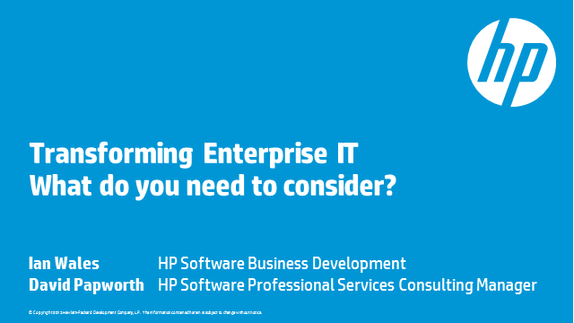 Transforming Enterprise IT – What do you need to consider?