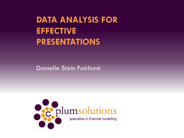 Data Analysis for Effective Presentations