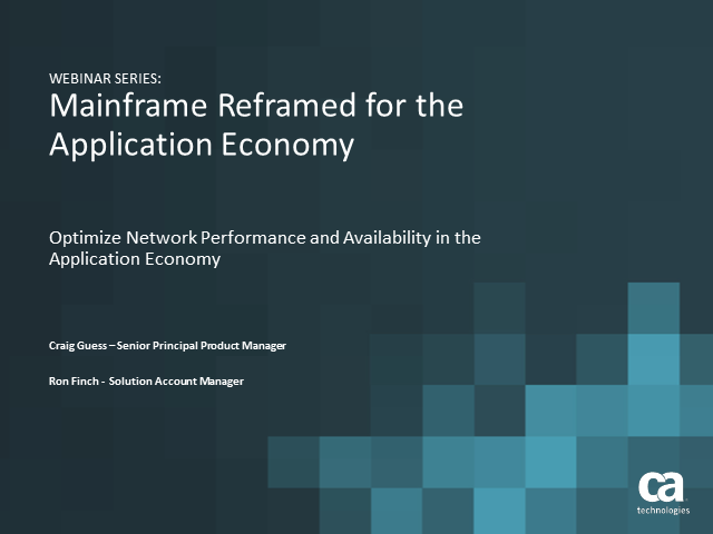 Optimize Network Performance & Availability in the Application Economy