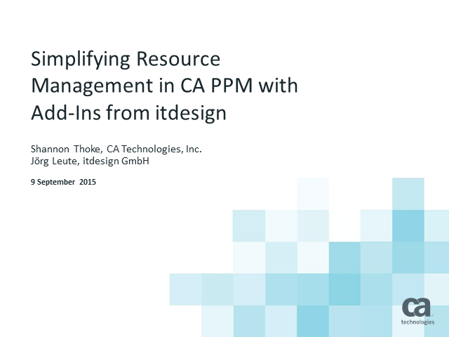 Simplifying Resource Management in CA PPM with Add-Ins from itdesign