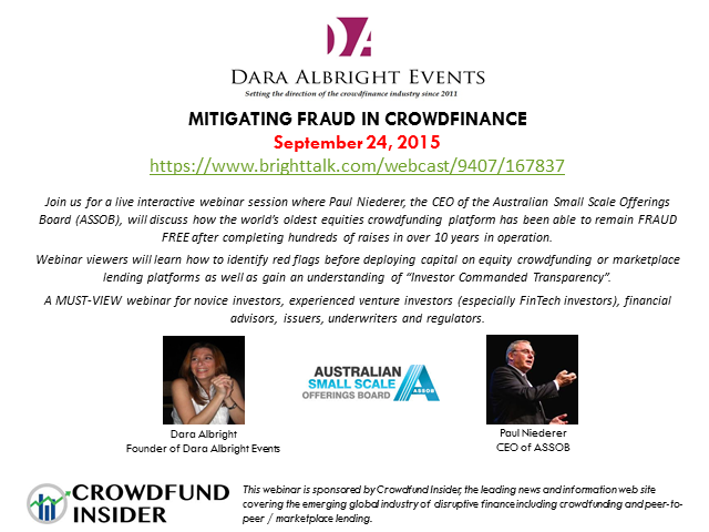 Mitigating Fraud in Crowdfinance