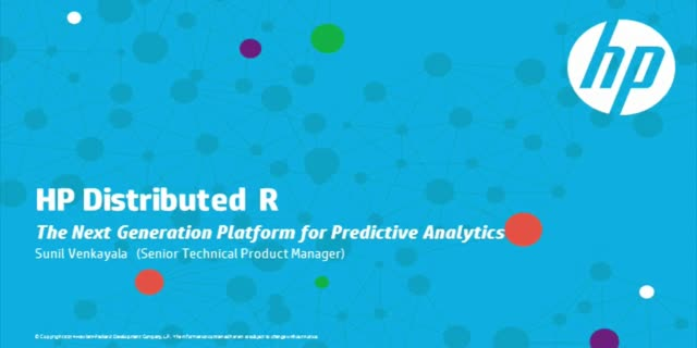 Turbo charging Predictive Analytics at Scale with HP Distributed R