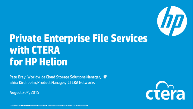 Private Enterprise File Services with CTERA for HP Helion