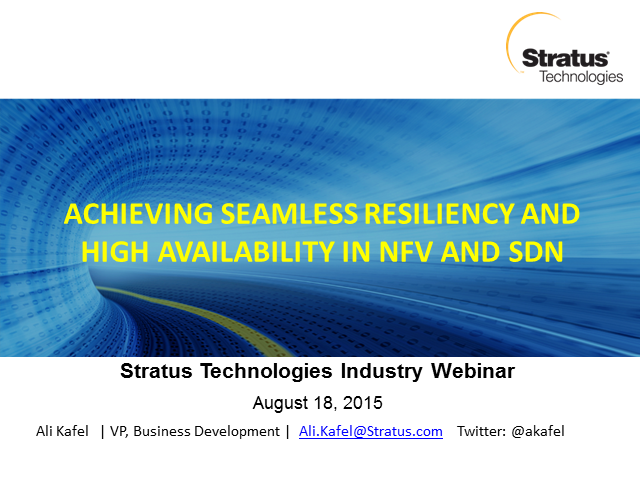 Achieving Seamless Resiliency and High Availability in NFV and SDN