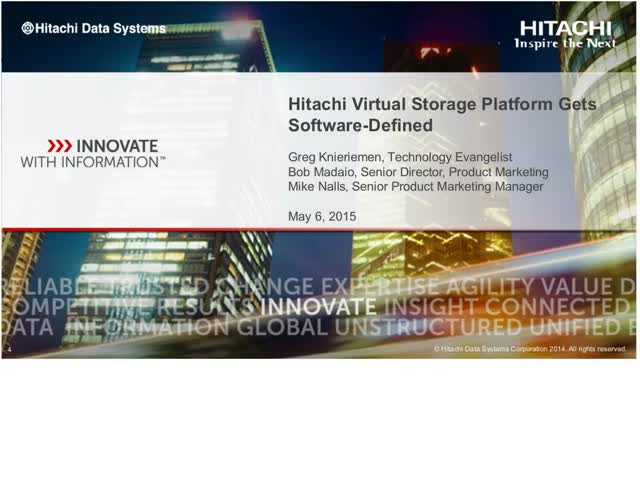 Hitachi Virtual Storage Platform Gets Software-Defined
