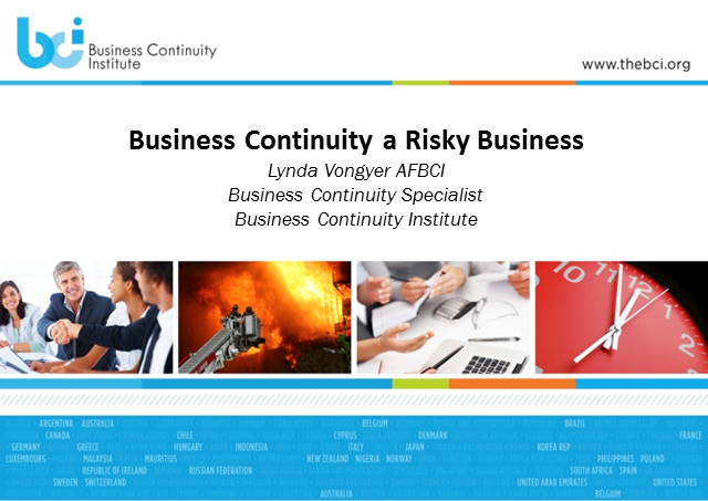 BCI Webinar: Business continuity - a risky subject