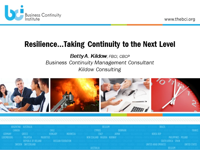 BCI Webinar: Resiliency… taking business continuity to the next level