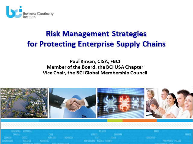 BCI Webinar: Risk management strategies for protecting enterprise supply chains