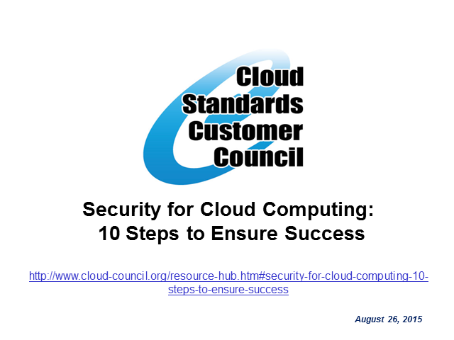 Security for Cloud Computing: 10 Steps to Ensure Success