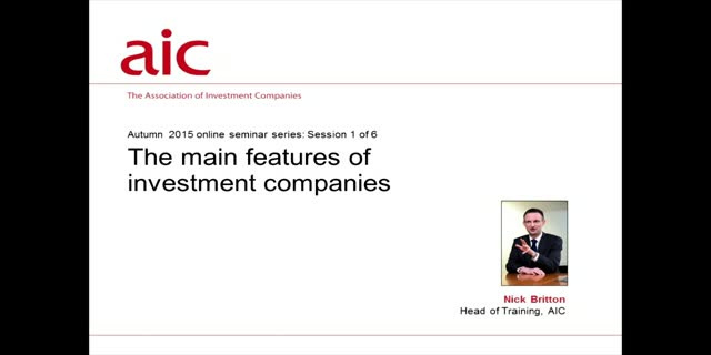 The main features of investment companies