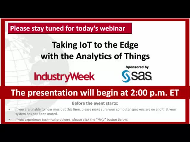Taking IoT (Internet Of Things) Analytics To The Edge