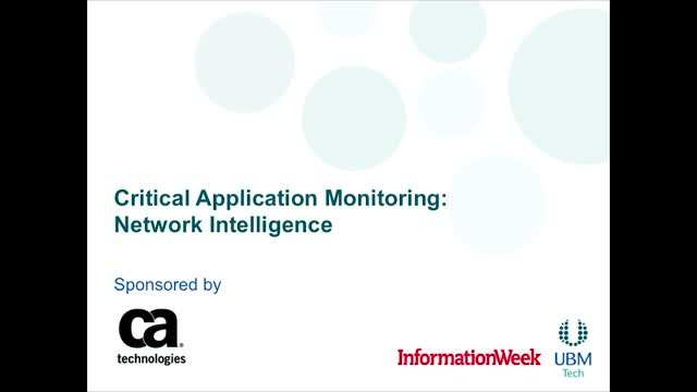 Critical Application Monitoring: Network Intelligence