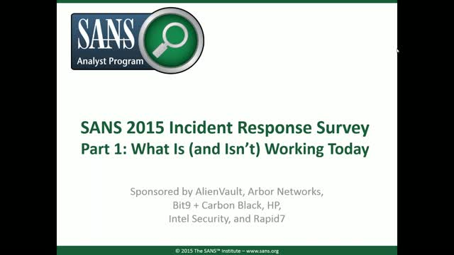 Incident Response - What Is (and Isn't) Working Today