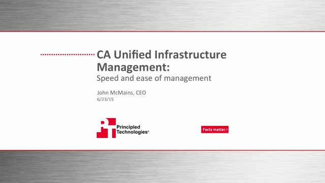 CA Unified Infrastructure Management: Speed and Ease of Management